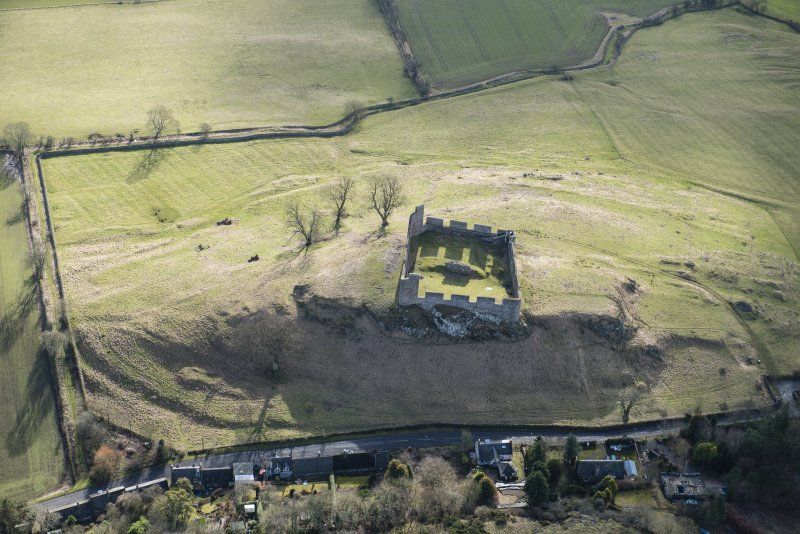 Oblique aerial view of Hume Castle, looking SE.