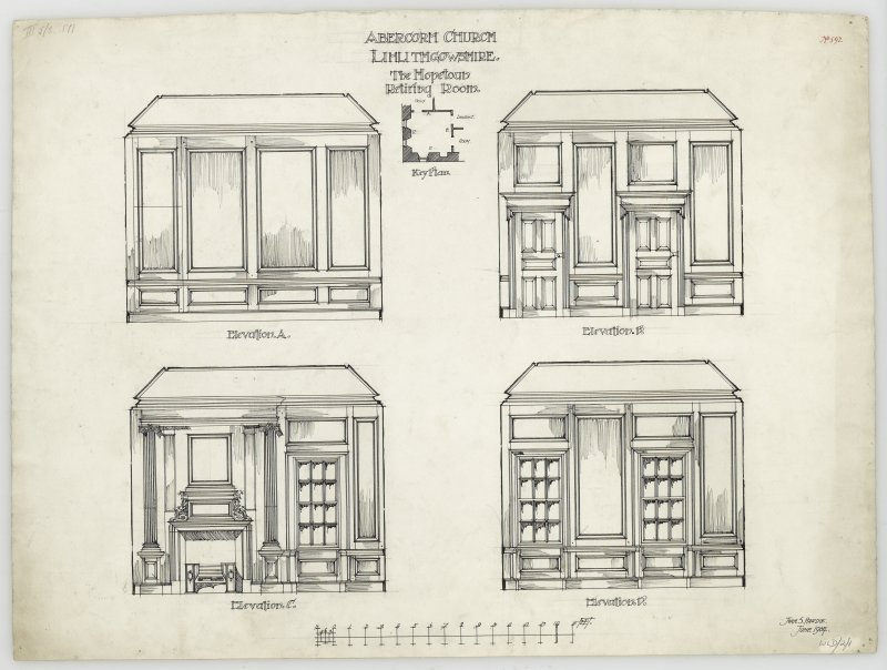 Drawing of elevation of wood panelling and key plan of the Hopetoun retiring room, Abercorn Church