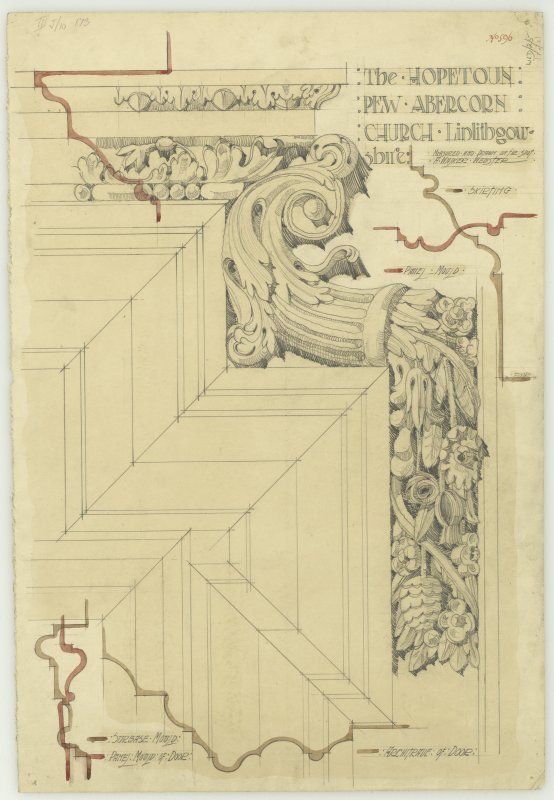 Drawing of architectural details in the Hopetoun Pew, Abercorn Church