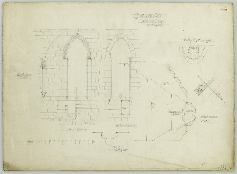 Drawing of elevations and details of chapel windows, Bothwell Castle