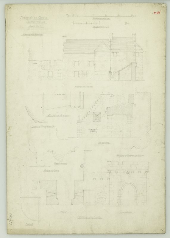 Drawing of elevations, sections and details of South-East angle of courtyard, Craignethan Castle