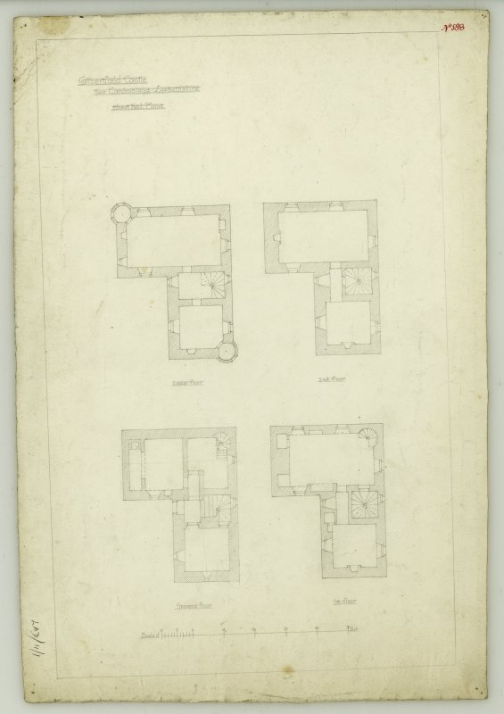 Drawing of plans of upper, second, ground and first floors, Gilbertfield Castle