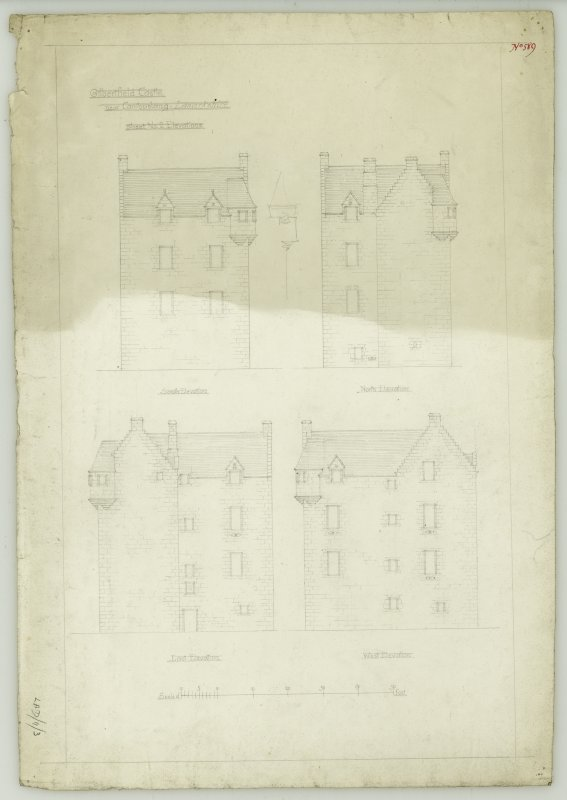 Drawing of south, north, east and west elevations, Gilbertfield Castle