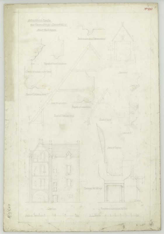 Drawing of section and details including turret, roof, windows, dormer and fireplaces, Gilbertfield Castle
