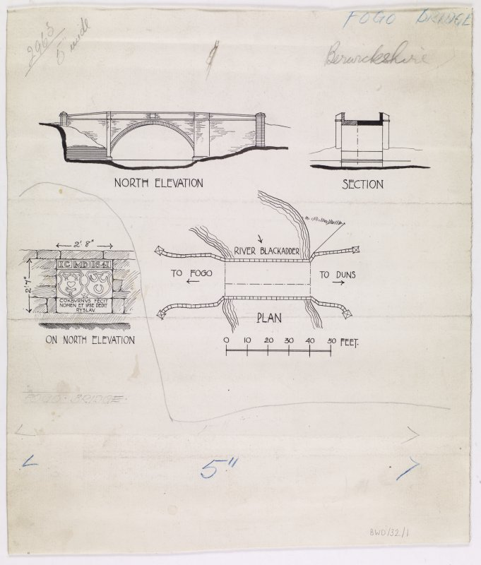 Publication drawings; plan, section, north elevation and detail of heraldic panel, Fogo Bridge.