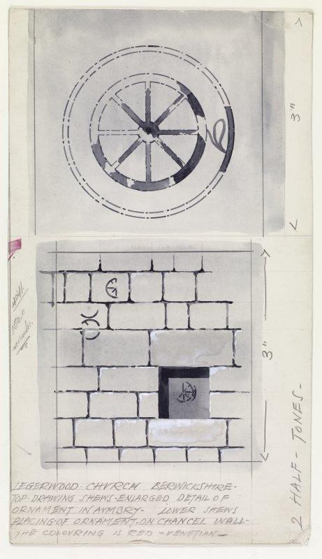 Publication drawings; Legerwood Church, (a) chancel wall showing the coloured ornament and (b) detail of ornament in colour at back of recess in chancel wall.