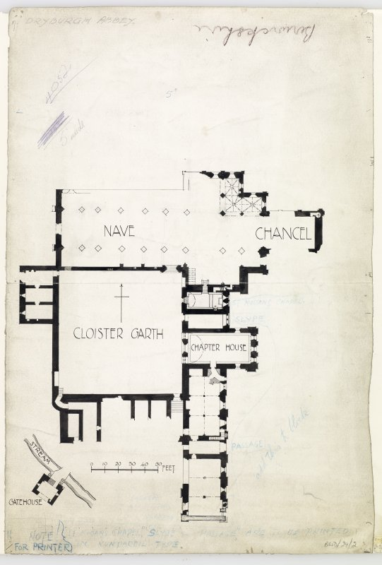 Publication drawing; plan of Dryburgh Abbey, with notes for printer.