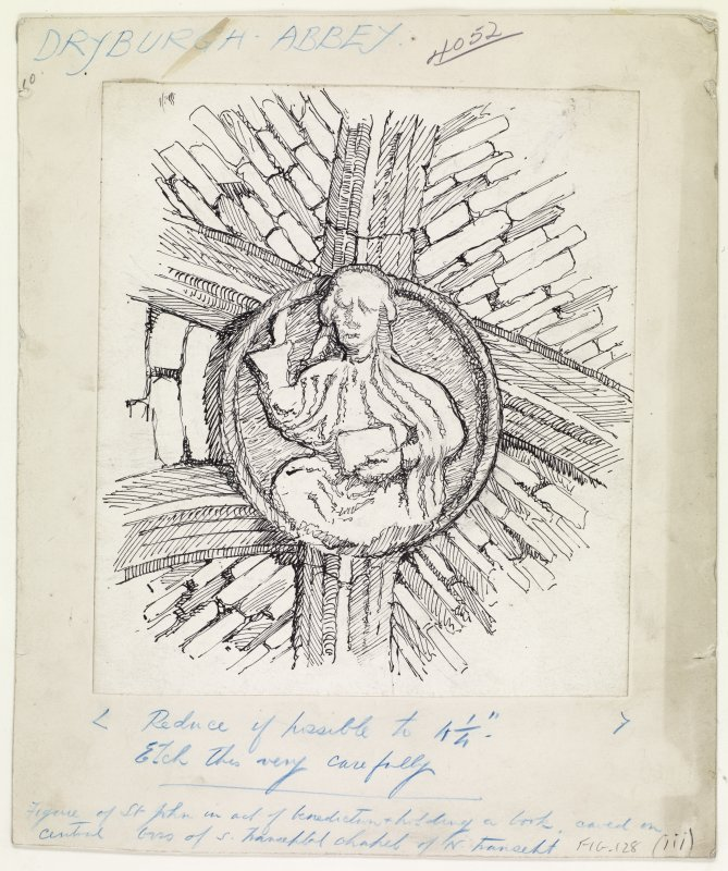 Publication drawing; Dryburgh Abbey; 'Christ in Majesty' carved on boss in north transept aisle.