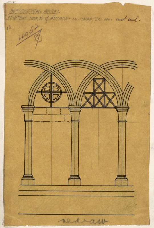 Preparatory drawing; detail of decoration in Chapter House, Dryburgh Abbey.