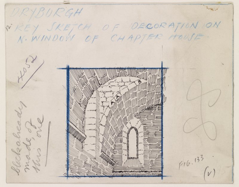 Publication drawing; key-sketch showing position of decoration on window of Chapter House, Dryburgh Abbey.