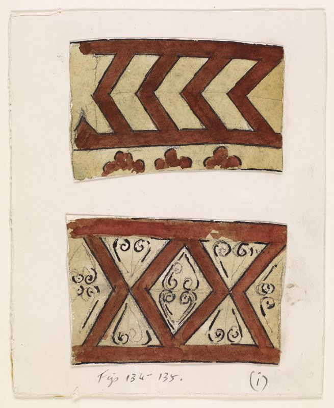 Preparatory drawing; Dryburgh Abbey: decoration in Chapter House in red (dotted) and black.