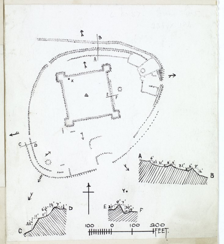 Publication drawing; plan and ditch section, fort and redoubt, Duns Law.