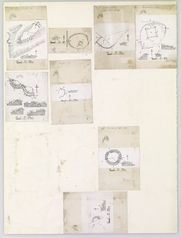Publication drawings; eight inked plans of forts (at a reduced scale), mounted on a single sheet. Includes Fans, Duns Law, Ecclaw, Ewieside Hill, Earn's Heugh, Dowlaw Road, Dogbush Plantation and Dean Castles.