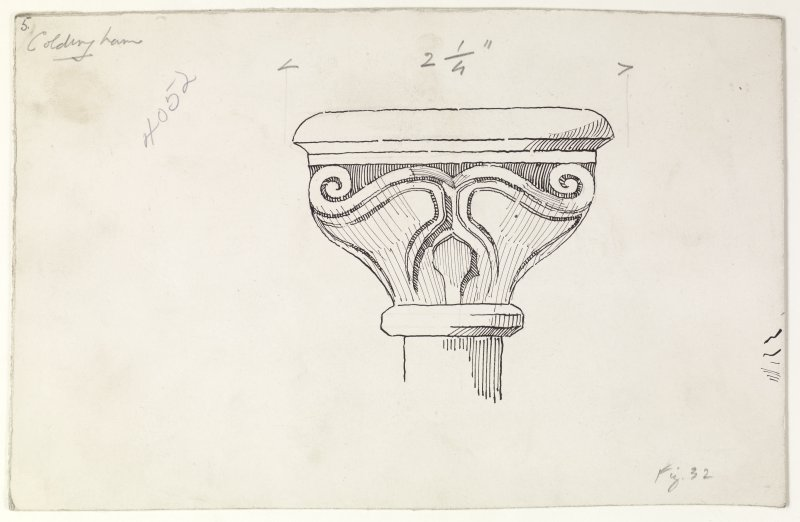 Publication drawing; Capital, Upper Arcade (interior), Coldingham Priory.