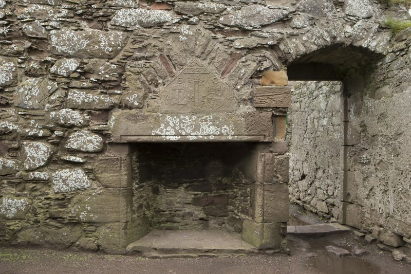 North range. Marischal Suite. Bedroom. Detail of fireplace with carved panel above.