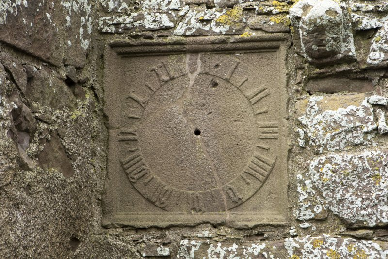 North range. Marischal Suite. Detail of stone sundial.