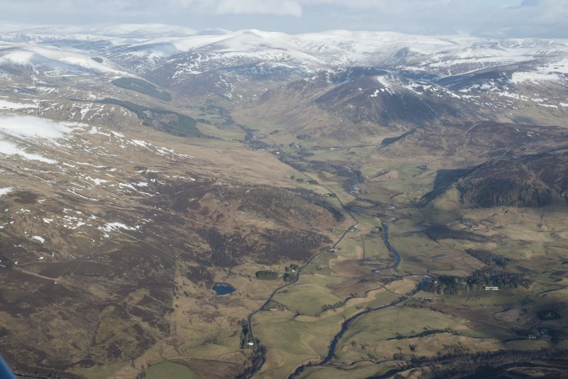 General oblique aerial view of Glen Shee, looking NW.