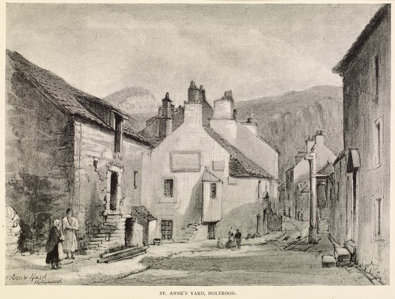 Engraving of St Anne's Yard, Holyrood.