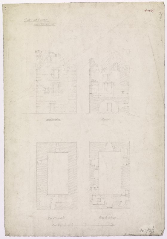 Glasgow, Old Castle Road, Cathcart Castle. Plans, elevations and section.