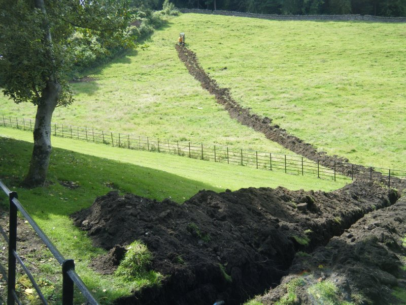 General view of the trench from the castle, photograph from an archaeological watching brief at Dundas Castle, South Queensferry