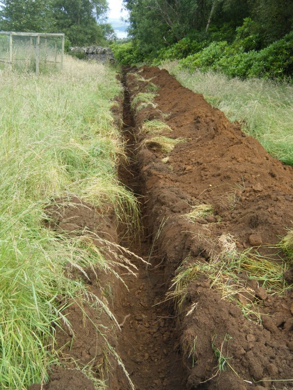 Final 25 m of trench at the south end, photograph from an archaeological watching brief at Dundas Castle, South Queensferry