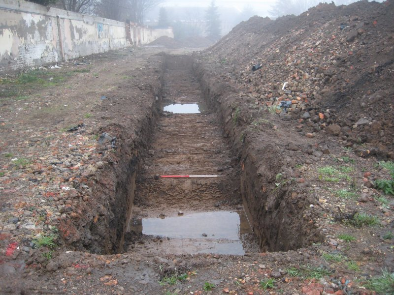 Record view, trench 3, photograph from desk based assessment and archaeological evaluation at Logie Green Road, Edinburgh