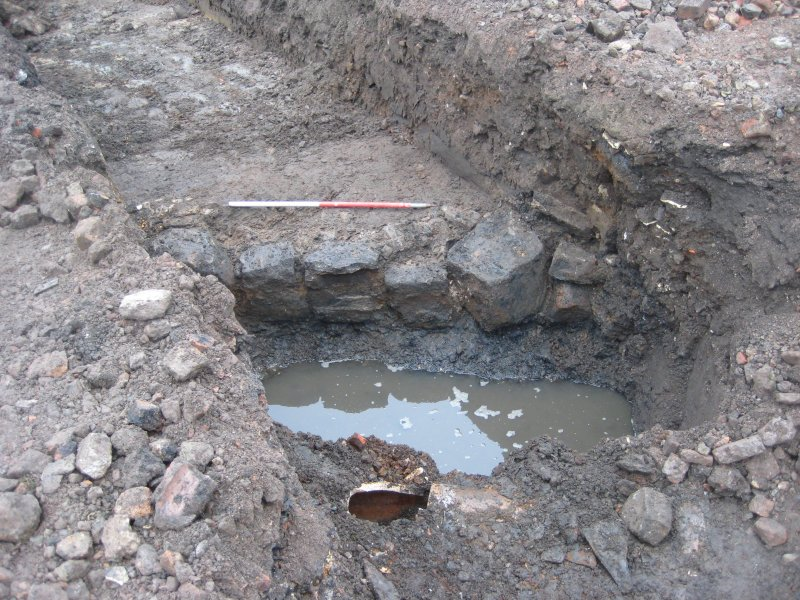 Revetment Wall [003], exposure 1 of 4, photograph from desk based assessment and archaeological evaluation at Logie Green Road, Edinburgh