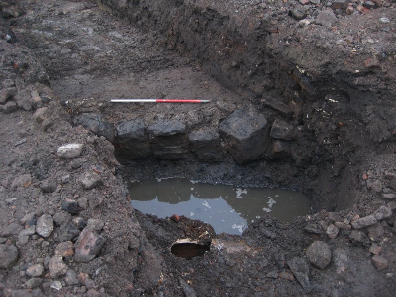 Revetment Wall [003], exposure 2 of 4, photograph from desk based assessment and archaeological evaluation at Logie Green Road, Edinburgh