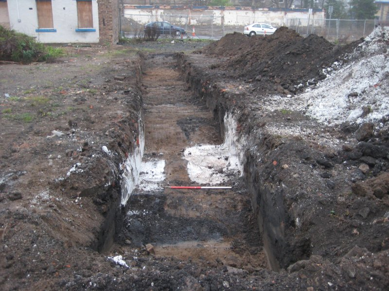 Record view, trench 7, photograph from desk based assessment and archaeological evaluation at Logie Green Road, Edinburgh