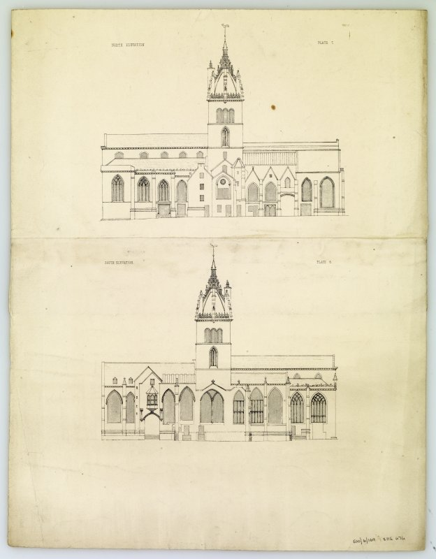 Drawing of North and South elevations, St Giles Cathedral, Edinburgh