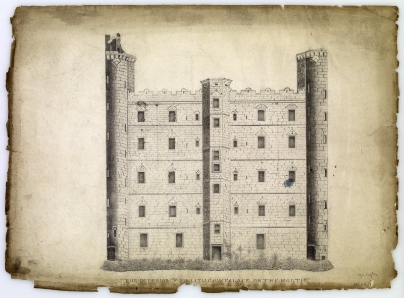 Drawing of north elevation of courtyard, Linlithgow Palace.