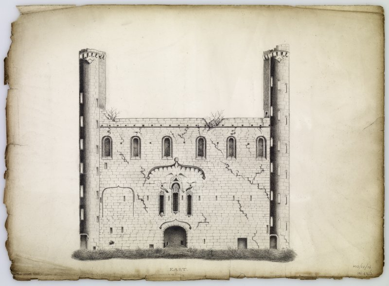 Drawing of east elevation of courtyard, Linlithgow Palace.