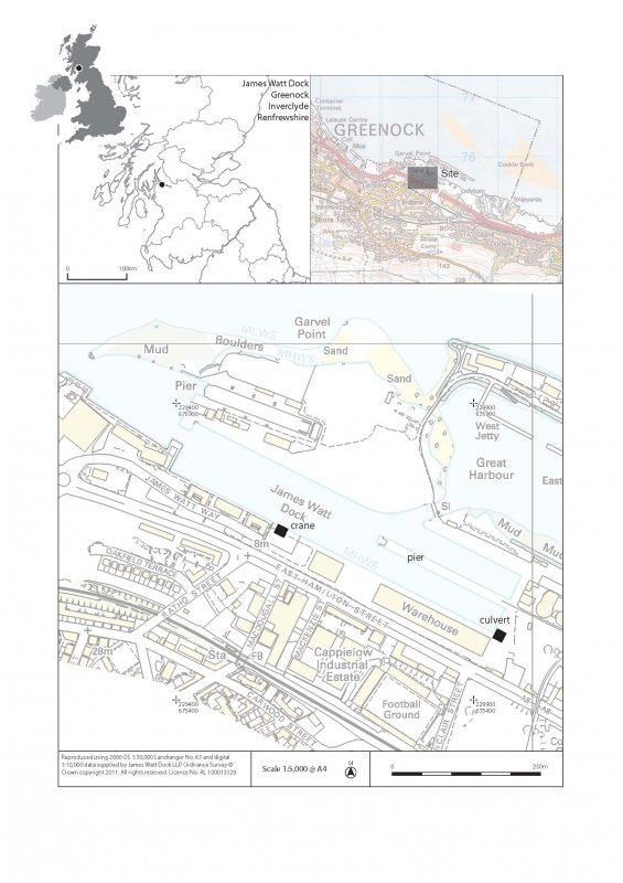 Site location plan, illustration one accompanying report from watching brief at James Watt Dock, Glasgow
