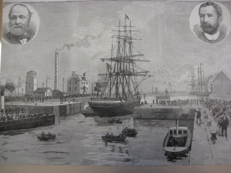 Historic etching of James Watt Dock, illustration two accompanying report from watching brief at James Watt Dock, Glasgow