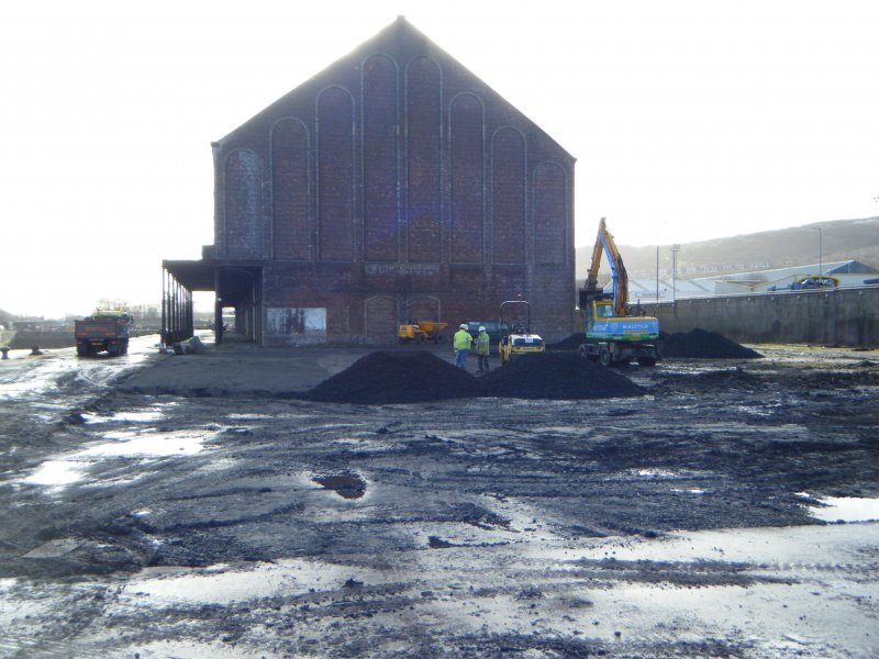 West side of the warehouse, photograph from watching brief at James Watt Dock, Glasgow