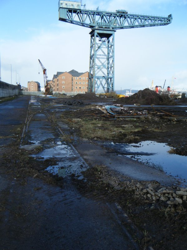 General view of the crane, photograph from watching brief at James Watt Dock, Glasgow