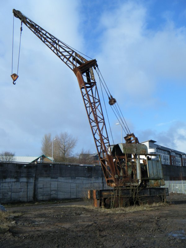 View of small crane, photograph from watching brief at James Watt Dock, Glasgow