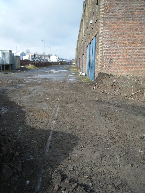 Rails to the south side of the warehouse, photograph from watching brief at James Watt Dock, Glasgow