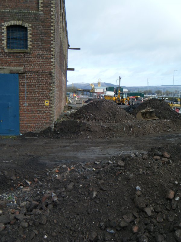 Excavations to the east side of the warehouse, photograph from watching brief at James Watt Dock, Glasgow