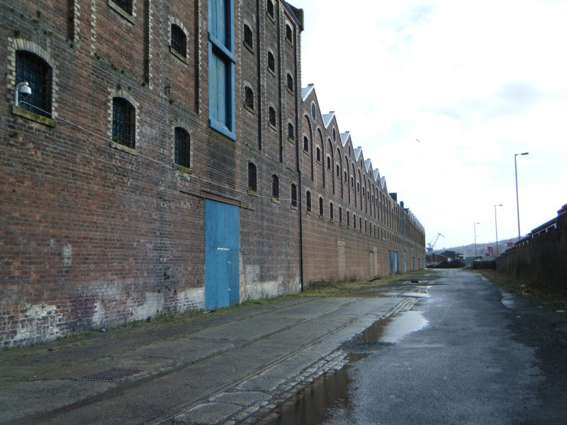 South elevation of the warehouse, photograph from watching brief at James Watt Dock, Glasgow