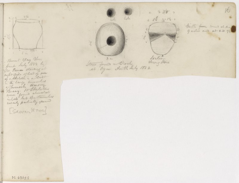 Sketches of urn from Saevar Howe and stone artefact from Oyce.