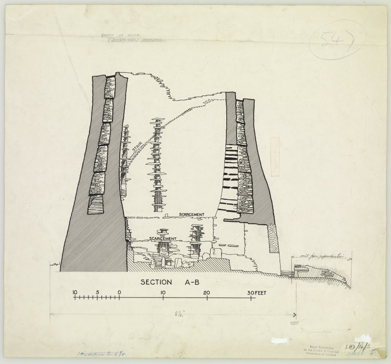 Publication drawing; Broch of Mousa, section A-B. From drawings supplied by HM Office of Works.