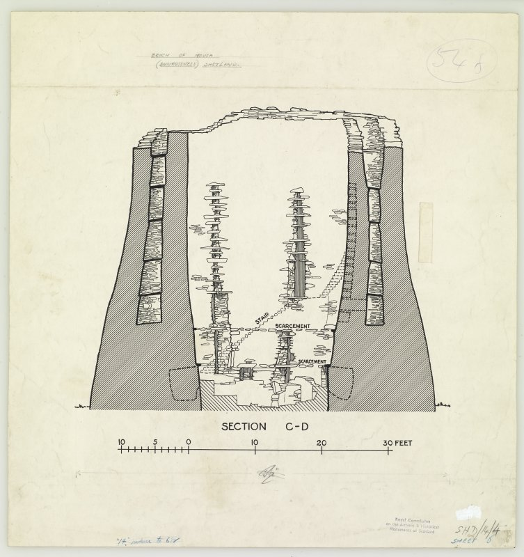 Publication drawing; Broch of Mousa, section C-D. From drawings supplied by HM Office of Works.