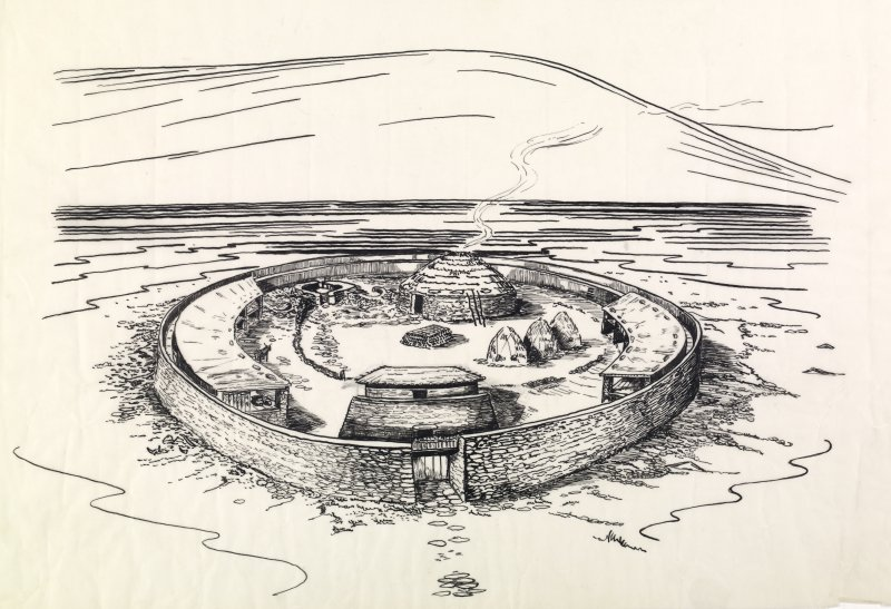 Draft reconstruction drawing of Clickhimin Iron Age Fort.
