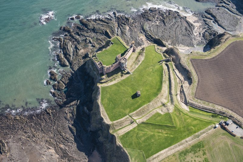 Oblique aerial view of Tantallon Castle, looking ESE.