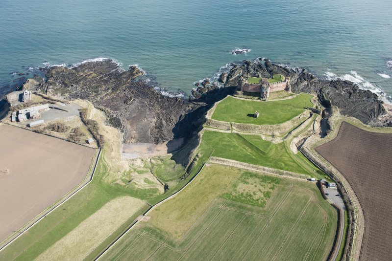 Oblique aerial view of Tantallon Castle, looking NE.