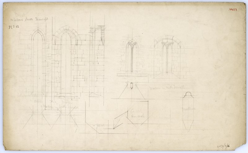 Drawing of windows in north and south transepts of Beauly Priory showing elevations and sections.