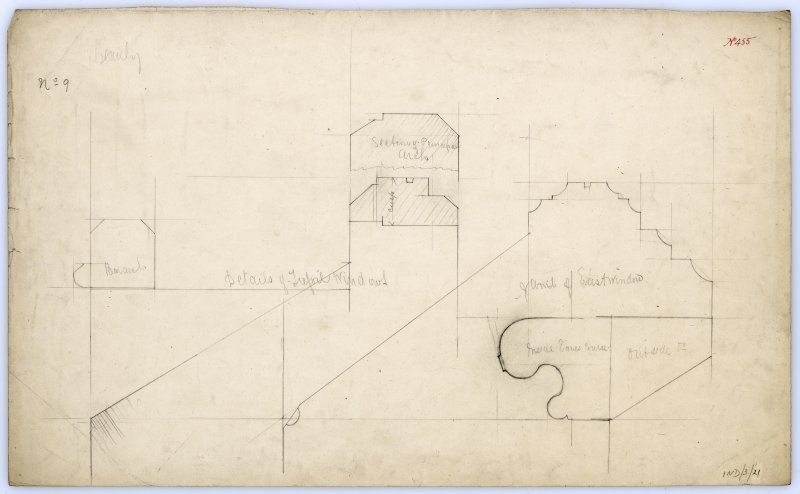 Drawing of details of windows and archs in Beauly Priory.