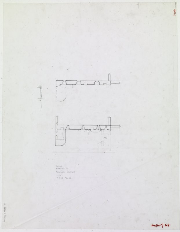 Survey drawing. Old Auchavoulin House; ground and first floor plans.