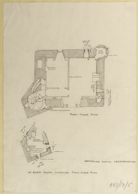 Third floor plan and South-West angle-tower, cap house, first floor plan.
